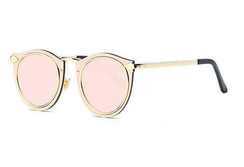 Gold and Pink CatEye Metal Frame Sunglasses