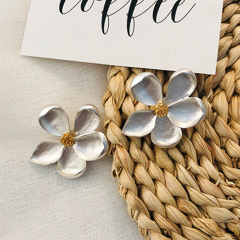 Vintage Gold/Silver Frosted Flower Earrings
