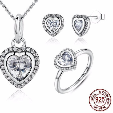 Sparkling Love Heart Jewelry Sets