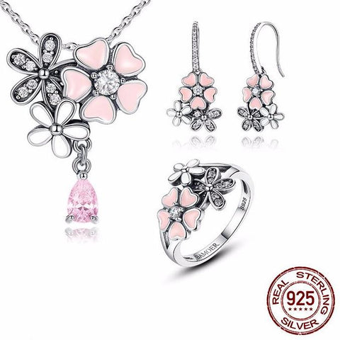 Pink Flower Poetic Daisy Cherry Blossom Jewelry Sets