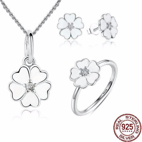 Primrose Flower White Enamel Jewelry Sets