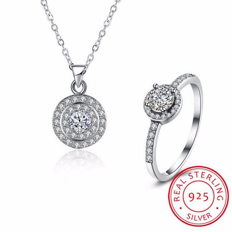 White Round Zircon Pendants Necklaces Rings Set