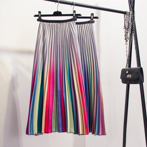 Rainbow High Waist Skirt