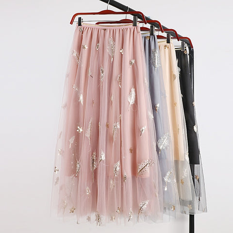 Leaves Tulle Skirt