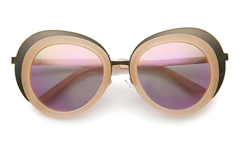 83ee9164b Pink and Beige Round Sunglasses
