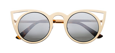 Light Gold Round Sunglasses