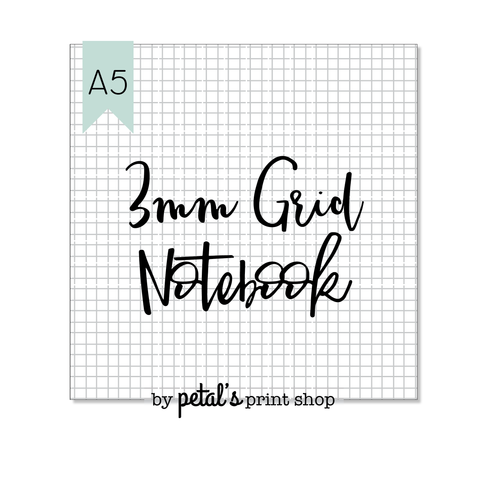 3mm Grid A5 Notebook - 20, 30, 40, or 50 pages