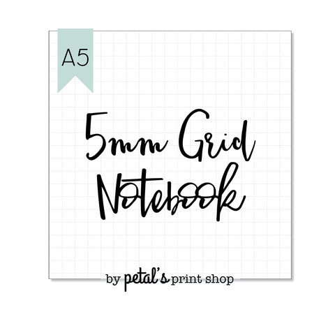 5mm Grid A5 Notebook - 20, 30, 40, or 50 pages