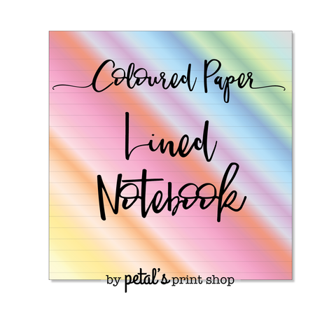 Lined Notebook - 20 or 30 pages - Coloured Paper Sale!