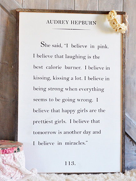 Wood Book Page Sign - Audrey Hepburn Quote