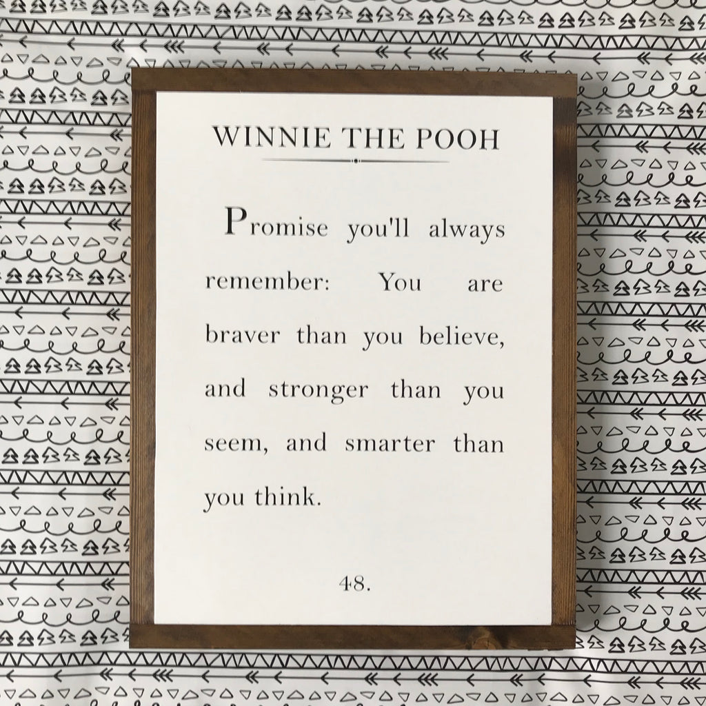 Wood Book Page Sign - Winnie The Pooh