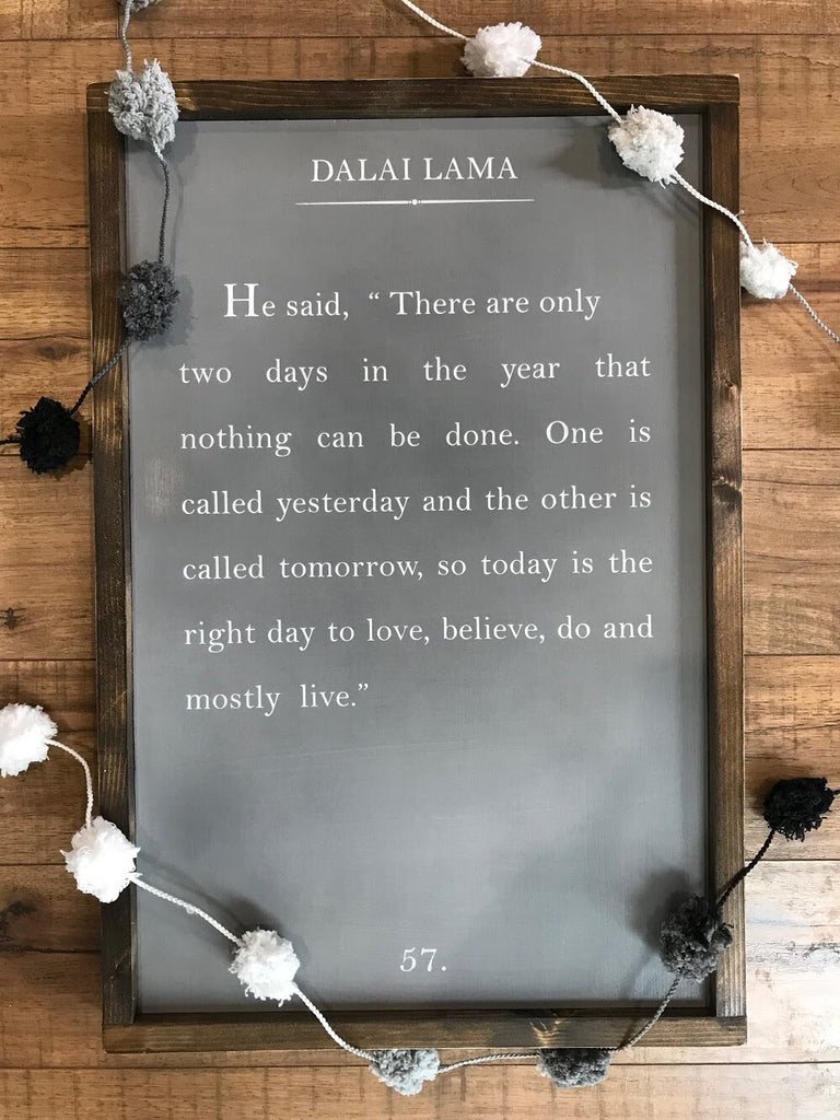 Wood Book Page Sign - Dalai Lama Grey Background