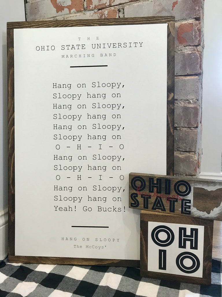 Wood Book Page Sign - Ohio State Buckeyes Hang On Sloopy