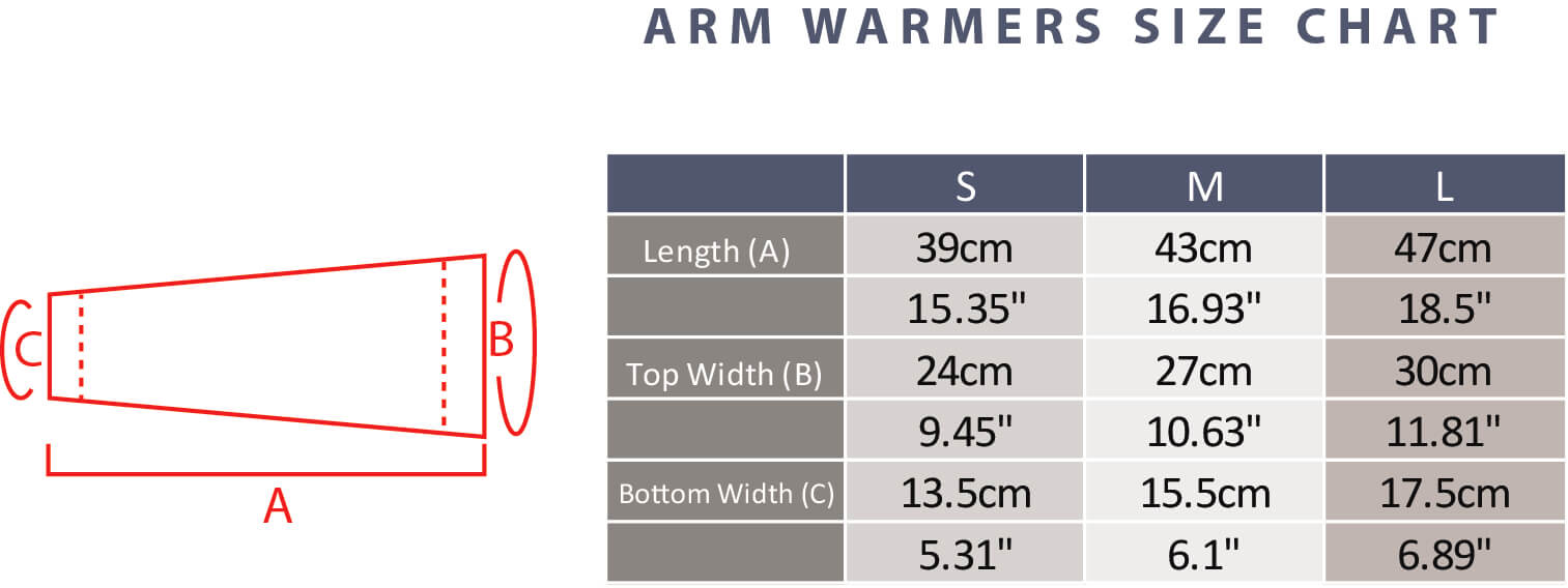 Arm Warmer Size Guide