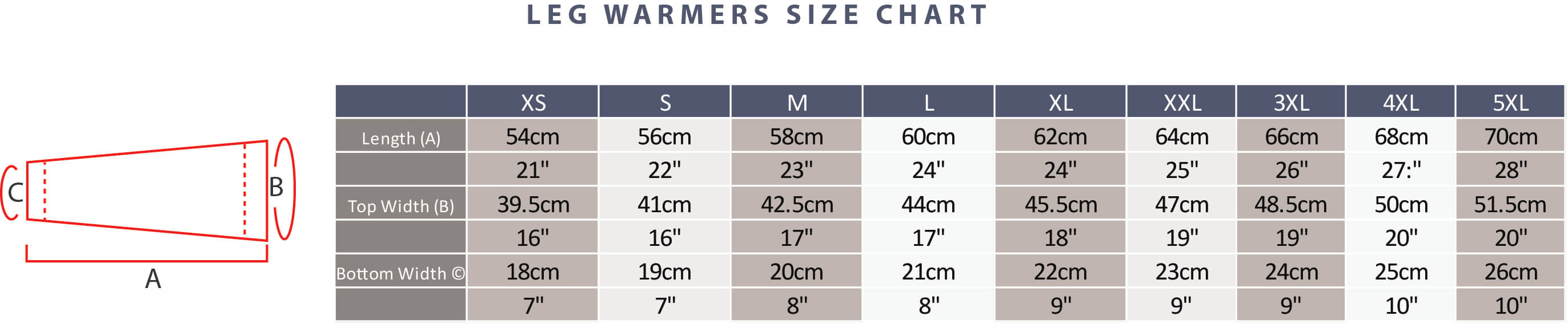 Leg Warmer Size Guide
