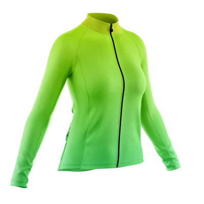 Bicycle Booth Long Sleeve Jerseys Green Gradient Long Sleeve Jersey