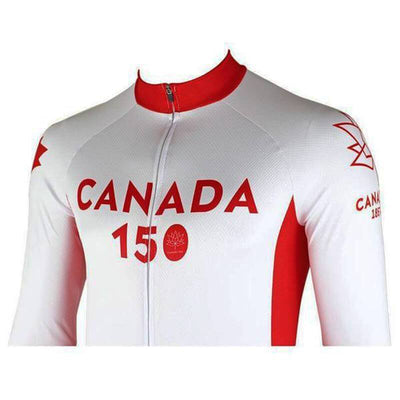 Bicycle Booth Long Sleeve Jerseys Long Sleeve White Canada 150 Jersey