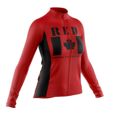 Bicycle Booth Long Sleeve Jerseys Remember Everyone Deployed Canada (V1) Long Sleeve Jersey