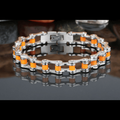 Bicycle Booth Orange S. Steel Chain Bracelet