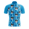 Bicycle Booth Short Sleeve Jersey Blue Custom Cat Jersey