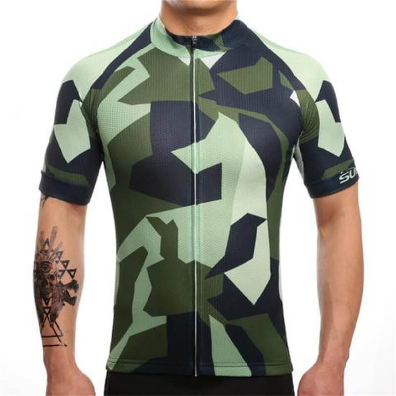 Bicycle Booth Short Sleeve Jersey Green Camo Jeresey