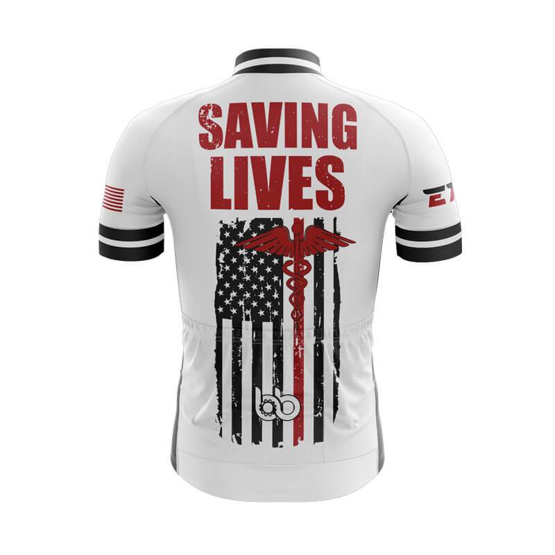 Bicycle Booth Short Sleeve Jersey XXS / Male Saving Lives (WHITE) Jersey