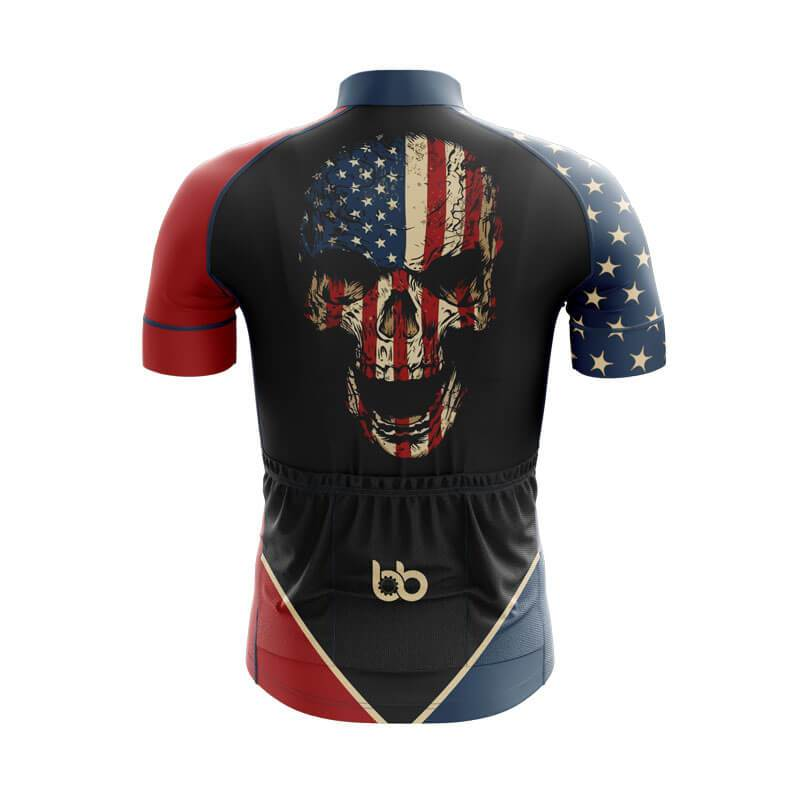 Bicycle Booth Short Sleeve Jersey XXS / Male USA Flag Skull Jersey (V2)