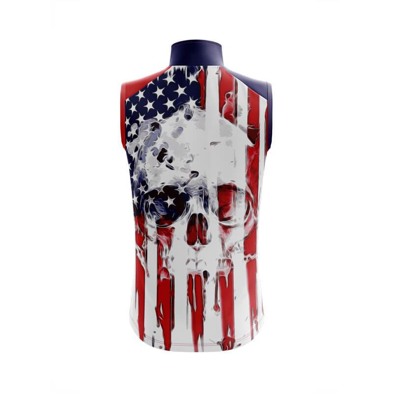 Bicycle Booth Sleeveless Jerseys XXS / Male USA Flag Skull Sleeveless Jersey (V1)