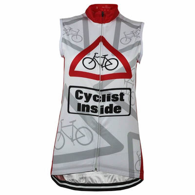 Bicycle Booth Sleeveless Jerseys White and Red Cyclist Inside Sleeveless Jersey