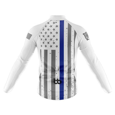 Bicycle Booth Thermal Jerseys Tactical Thin Blue Line Thermal Jersey (White)
