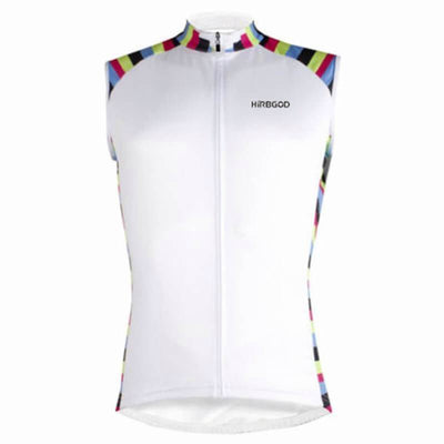 Canadian Bicycle Booth White with Multi-Color Stripe Sleeveless Jersey