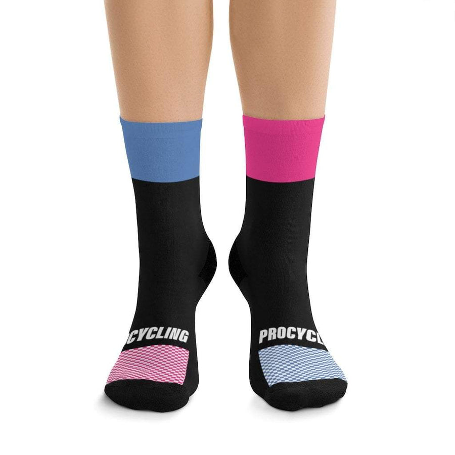Printify All Over Prints One size Pink & Blue Highlight Black Socks