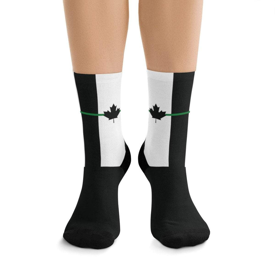 Printify All Over Prints One size Thin Green Line Canada Socks