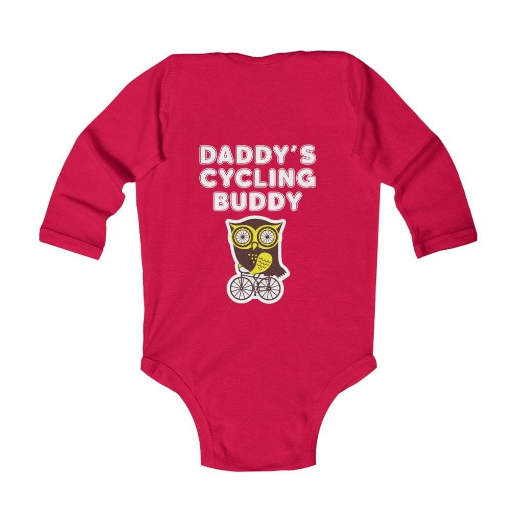 Printify Kids clothes Red / 18M Daddy's Cycling Buddy Infant Long Sleeve Bodysuit