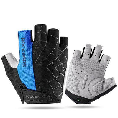 ROCKBROS Official Store Cycling Gloves Blue / S ShockProof Half Finger Gloves