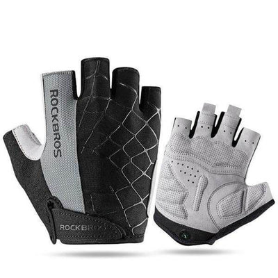 ROCKBROS Official Store Cycling Gloves Gray / S ShockProof Half Finger Gloves