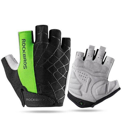 ROCKBROS Official Store Cycling Gloves Green / S ShockProof Half Finger Gloves