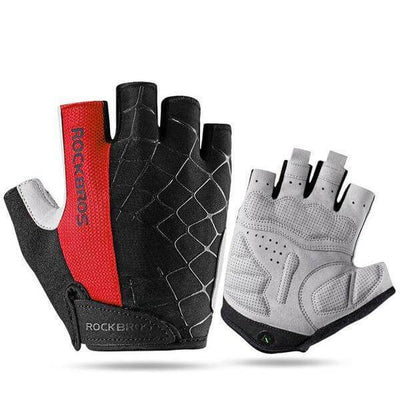 ROCKBROS Official Store Cycling Gloves Red / S ShockProof Half Finger Gloves