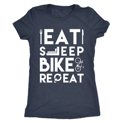 teelaunch T-shirt Next Level Ladies Triblend / Vintage Navy / S Mens & Womens - Eat Sleep Bike Repeat T Shirt