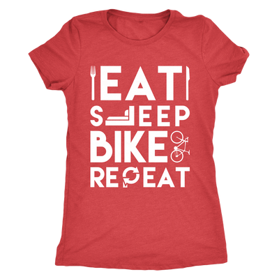 teelaunch T-shirt Next Level Ladies Triblend / Vintage Red / S Mens & Womens - Eat Sleep Bike Repeat T Shirt