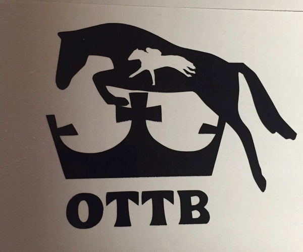 OTTB Hunter Cross Crown Decal (Side View) - KJ Creations