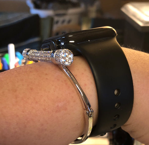 Crystal Shackle style Stainless Steel Bangle
