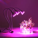30W Three Head Led Grow Light Desk Clip Lamp with 360 Degree Flexible