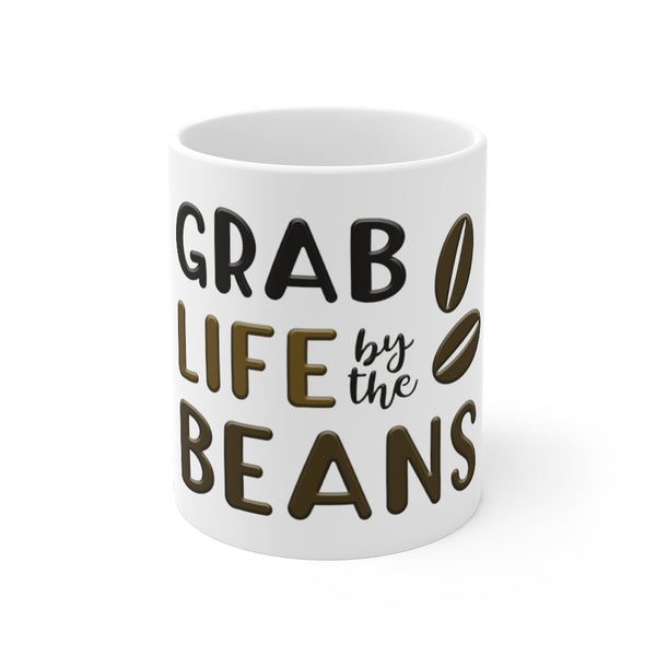 Funny Coffee Mugs | Grab Life By The Beans 11oz Mug-Mug-TD Gift Solutions.com