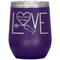 RT Swagger | Respiratory Therapy Love 12 oz Wine Tumbler-Wine Tumbler-TD Gift Solutions.com