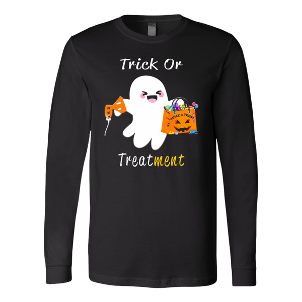 Halloween Respiratory Therapy Gifts | RT Trick or Treatment Long Sleeve Tee-T-shirt-TD Gift Solutions.com