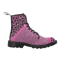 Chunky Boots | Pink Leopard Breast Cancer Survivor Martin Boots for Women-Martin Boots for Women-TD Gift Solutions.com