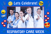 Respiratory Therapy Life | Respiratory Care Week Blue Emoji Theme Photo Prop - Photo Booth Frame