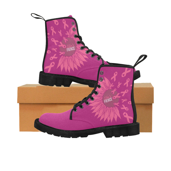 Pink Boots | She's Fierce Like A Sunflower Breast Cancer Martin Boots for Women-Martin Boots for Women (Black) (1203H)-TD Gift Solutions.com