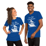 Cruise Addict | Couples Cruise Captain & First Mate Royal Blue Unisex T-Shirt - TD Gift Solutions.com